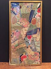Vintage Antique Textile Panel 1920s Sample Silk Embroidered Collage Quilt Fabric