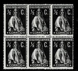 PORTUGAL 1912 ½C Black CERES pf 15x14 porcelana paper Block/6 OG 5 NH  [CE207a]