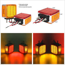 2 X DC12V 39LED Amber+Red Car Truck Brake Tail Lights Stop Turning Signal Lamps