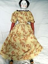 "Antique German 22"" Original Exceptional China Lady Doll  Antique Body & Clothes"