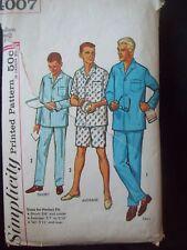 "Men's Short/Long Pajamas 1960s Simplicity Pattern 4007 Cut Size Medium (38""-40"")"