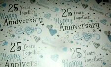 3 SHEETS SILVER WEDDING GIFT WRAP  PAPER 2 TAG 25TH ANNIVERSARY