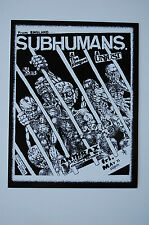 Subhumans Vintage Concert Flyer Sticker Decal (371) Punk Rock Minor Threat