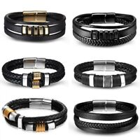 Punk Men's Leather Band Bracelet Watch Buckle Metal Magnetic Wristband Bangle