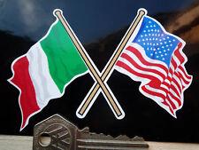 Crossed Italian & American Flags Sticker 100mm USA Stars Stripes Italy Tricolore