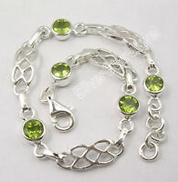 "925 Sterling Silver Unseen ROUND PERIDOT STYLISH Cast Bracelet 7.7"" 8.4 Grams"