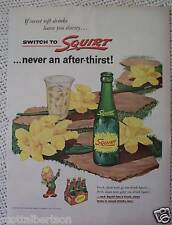 SQUIRT SODA BOTTLE  VINTAGE AD  1955