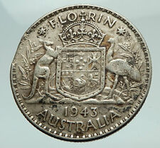 1943 AUSTRALIA Large King George VI Kangaroos Antique Silver Florin Coin i74546
