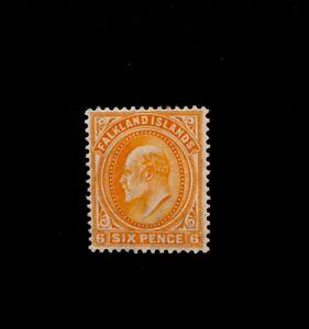 Falkland Islands 1904  SG47 6d Orange KEVII mounted Mint