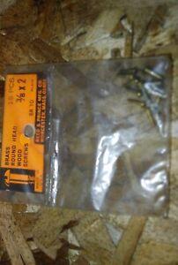 "#2 x 3/8"" Round Head Brass Wood Screws - R&P - NOS 15pcs #ps301"