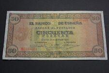 1938 SPAIN 50 PESETAS BURGOS BANKNOTE BILLETE ESPAÑA PICK#112a VF+ CRISP