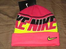 Nike Cuff Winter Beanie - Pink/Volt Yellow - Girls/Youth 4/6X - NEW