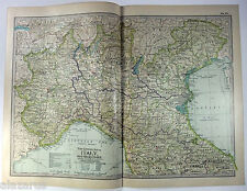 Original 1902 Map of Northern Italy by The Century Company