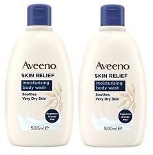 2 x Aveeno Skin Relief Moisturising Body Wash 500ml Soothes Very Dry Skin