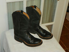 ANDERSON BEAN Women's Black Leather Roper Cowboy Boots Crepe Sole size 5 C wide