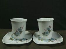 Vtg. Goudeville Limoges France Hand Painted Floral Handheld Tea Cups Set,France