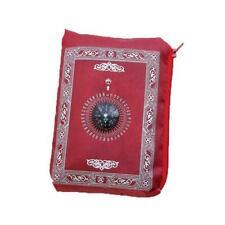 TRAVEL PORTABLE POCKET PRAYER MAT RUG WITH QIBLA KAABA COMPASS POUCH U5A5 I G8P6