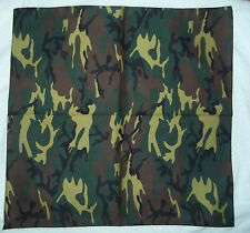 "GREEN BLACK CAMOUFLAGE COTTON BANDANA BIKER SCARF APPROX 20"" HAIR HEAD WRAP"