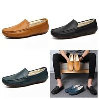 Men's 100% Genuine Leather Moccasin Slippers Driving Shoes Loafers Flat Casual