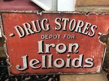 More details for vintage enamel chemist sign iron jelloids double sided