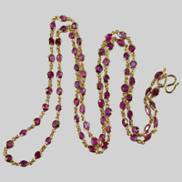 """Bezel Set Ruby Gemstone Chain 5.7ct 20""""18k Yellow Gold Over By The Yard Necklace"""