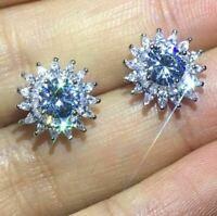 4.50Ct Round Cut Moissanite Push Back Halo Stud Earrings 14K White Gold Finish