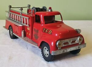 Tonka Toys Ford Round Fender Cab SUBURBAN PUMPER FIRE TRUCK 50's V RARE NICE