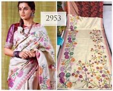 satin saree women indian pakistani zari digital print running blouse south style