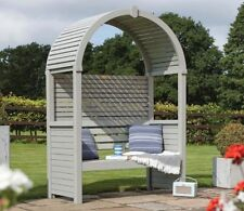 PRESSURE TREATED GARDEN ARBOUR OPEN SLATED ROOF OUTDOOR SEATING CLASSIC NEW