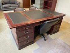 Traditional Kimball Office President Cherry Wood And Veneer Executive Desk