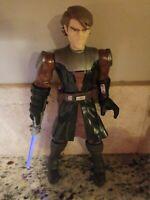 """Star Wars Action Figure 2009 Anakin Skywalker Large Talking 10"""" LIGHT UP SABER"""
