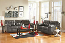 NEW Modern Style Living Room Couch Set - GRAY Bonded Leather Sofa Loveseat IG1J