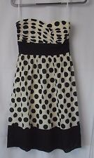 Donna Ricco New York Strapless Dress Black Cream Dot Size 2  #7667