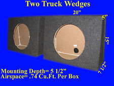 "TWO 10"" UNIVERSAL TRUCK WEDGE GREY SUBWOOFER SUB SPEAKER ENCLOSURE BOXES"