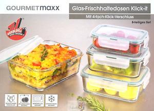 Glas-Frischhaltedosen Klick-it 8-tlg Set Neu OVP 4 Dosen+Deckel GOURMETmaxx