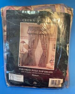 1 Pair CROWN CRAFTS Sirocco Tailored Pole Top Drapes Lined 80x84