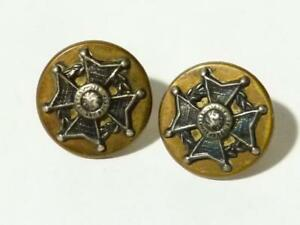 2 x WWI or WWII The Border Regiment OFFICERS Buttons Silver & Brass #X48*