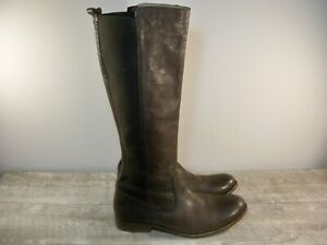 Frye #74163 Molly Gore Tall Riding Womens Brown Leather Knee High Boots Size 9.5