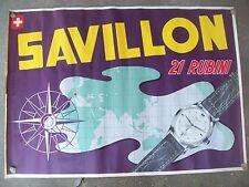1952 MANIFESTO PUBBLICITARIO ILLUSTRATO ORIGINALE OROLOGI SVIZZERI 'SAVILLON'