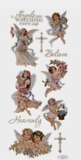 Religious Angels Watching Over Us Believe Heavenly Foil Scrapbook Stickers 5x12""