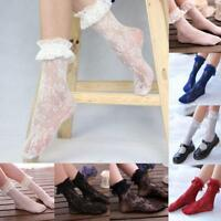 Women Girls Floral Lace Ruffle Lacework Frilly Embroidered Short Ankle Socks