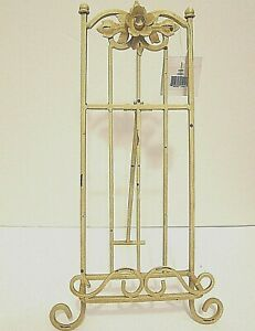 """16"""" Cream Yellow Rustic Metal Book Picture Plate Display Stand Easel Holder"""