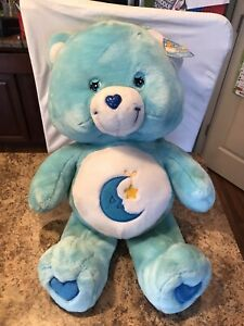 "VTG Care Bears Bedtime Bear Jumbo 24"" Blue Plush 2002 Moon Yellow Star W/Tag"