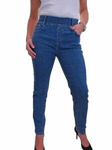 Womens Elasticated Waistband High Waist Denim Jogger Style Jeans Fade Blue 10-22