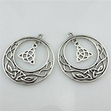 20774 8pcs Vintage Silver Alloy Filigree Celtic Knot Triquetra Triskele Pendant