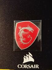 MSI Sticker Decal - Silver Dragon on Red Background