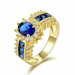 US SELLER DAZZLING GOLD FILLED BLUE SAPPHIRE SIMULATED PLUS SIZE RING SIZE 12