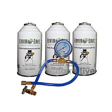 Enviro-Safe Vehicle Refrigerant Replacement Multiple Car Kit 3 Cans, Tap + Gauge