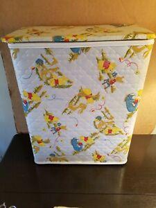 "Vintage Classic Winnie the pooh Wood/Vinyl  Clothes Hamper Laundry Bin  25""X19"""