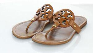 01-02 $198 Women's Sz 7.5 M Tory Burch Miller Leather Medallion Thong Sandals